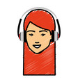 beautiful woman head with earphones avatar vector image