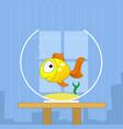 cartoon cute golden fish in bowl vector image