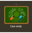case study studies icon flat laptop magnifier vector image