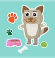 cute dog cartoon sticker set on blue background vector image