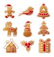 Gingerbread Christmas set vector image