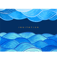 invitation on navy blue background with waves vector image