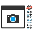Photo Camera Calendar Page Icon With Bonus vector image