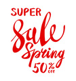 Spring text with sale tag red text spring sale vector image