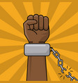 black hand and chain broken freedom concept vector image