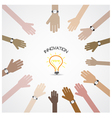 businessman hand symbol with doodle light bulb vector image