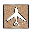 color pencil drawing square frame with airplane vector image