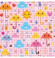 cute umbrellas raindrops flowers clouds characters vector image