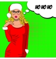 Pop art cute mrs claus with bubble sign vector image