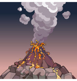 cartoon volcano spewing lava and smoke vector image
