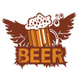 retro banner with a glass of beer and wings vector image vector image