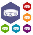 bracelet with gems icons set hexagon vector image