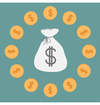 Money bag and coins Icon Dollar sign vector image