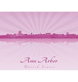 Ann Arbor skyline in purple radiant orchid vector image