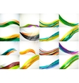 Set of abstract backgrounds smooth blurred waves vector image vector image