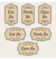 Eat Drink Open Me vintage labels vector image