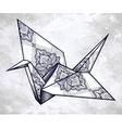 ornate stylized paper crane vector image