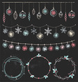 Christmas Garlands and Wreaths Set vector image