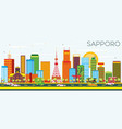 sapporo skyline with color buildings and blue sky vector image