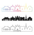 constanta skyline linear style with rainbow vector image