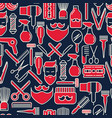 barber shop seamless pattern with thin line icons vector image