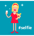 Glamorous girl with a dog making selfie vector image