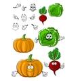 Funny cartoon isolated fresh veggies vector image