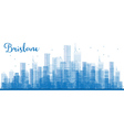 Outline Brisbane skyline with blue buildings vector image