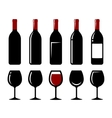 Wine bottle and glass set vector