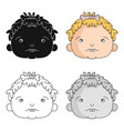 cavechild face icon in cartoon style isolated on vector image