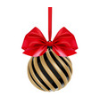 christmas ball in black and gold color with red vector image