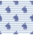 Seamless pattern with ship on striped background vector image