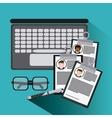 businessman laptop glasses pen cv document icon vector image