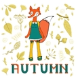 Autumn elegant card with cute fox character vector image vector image