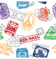 set of vintage postage mail stamps isolated vector image