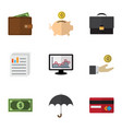 flat gain set of chart payment hand with coin vector image