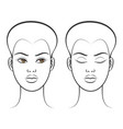 open and closed eyes female face vector image vector image