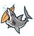 shark bite a surfboard vector image vector image