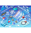 Isometric Infographic Ice Fishing Set vector image vector image