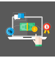 Online Payment Flat Icon over Grey vector image vector image