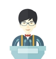 Chinese speaker stand behind a podium vector image