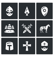 Set of Ice Battle Icons Warrior Spear vector image
