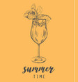 cocktail summer sketch with pineapple vector image