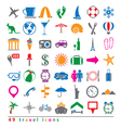colorful 49 travel icons set vector image