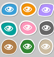 Eye symbols Multicolored paper stickers vector image