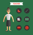 Flat Design of Teacher with Icon Set Infographic vector image