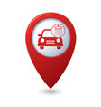 car wash icon on red map pointer vector image vector image