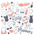 woman lifestyle freehand doodle hand drawn vector image