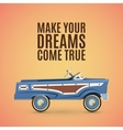 Vintage poster template with toy pedal car vector image vector image