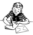 boy writing a letter vector image